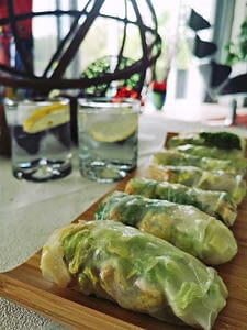 Chicken-Cæsarsalat-Risruller